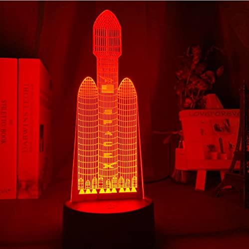 Lámpara 3D Rocket Lámpara De Ilusión Óptica 7 Colores Luz Nocturna Para Decoración Del...