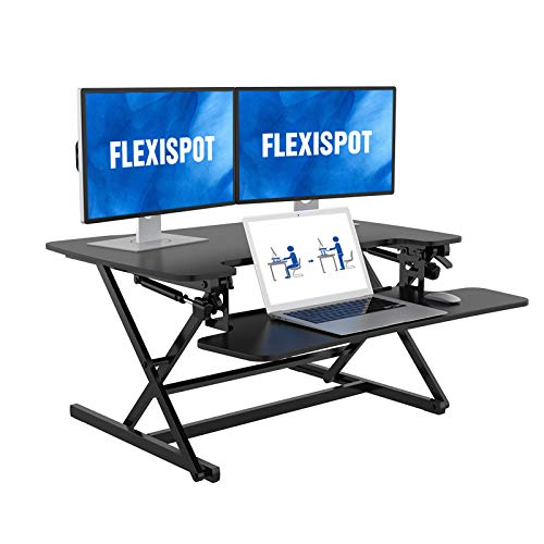 FLEXISPOT Height Adjustable Standing Desk Converter | 35 inch Stand Up Desk Riser, Black Home Office...