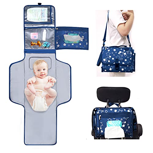 Portable Changing Pad, Baby Changing Pad, Travel Changing Pad for Baby with Smart Wipes Pocket |Lightweight and Waterproof Portable Diaper Changing Mat with Cushioned Pad.