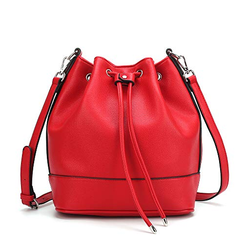 AFKOMST Bucket Bag for Women,Drawstring Purses and Handbags,Faux Leather with 2 Shoulder Straps,Red/L