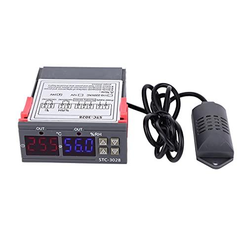 Controlador de temperatura, medidor de controlador de temperatura y humedad con pantalla digital STC-3028 con sensor integrado(24V)