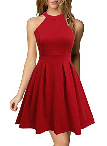 Berydress Women's Halter Neck Backless Black Cocktail Party Dress (US8, 6019_Red)