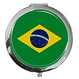 metALUm Premium - Taschen - Spiegel aus verchromten Metall'Flagge Brasilien' mit edler, hochglänzender Kunstharzbeschichtung - tolles Geschenk für Brasilien - Fans