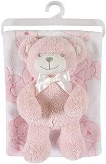 Stephan Baby Snuggle Fleece Crib Blanket and Plush Toy Set, Pink Bear