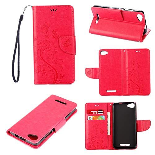 Guran PU Pelle Portafoglio Flip Custodia per Wiko Jerry Smartphone Avere Slot per Schede Stent Funzione Chiusura Magnetica Goffratura Farfalla Caso - Rosa Rossa
