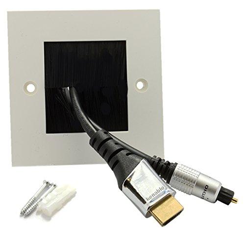 Negro Cepillo Placa Frontal Para Cable Exit/Wall Salida UK Solo Grupo Blanco [White Single]