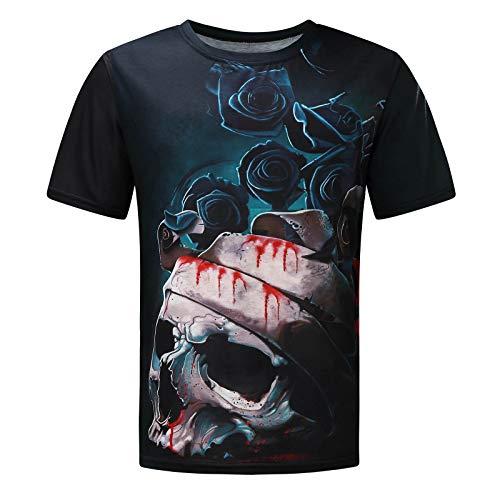 Laoluo T - Camiseta para hombre, manga corta, diseño de calavera, estampado, casual, verano 6-negro. XL