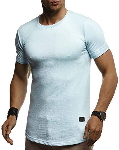 Leif Nelson Herren Sommer T-Shirt Rundhals Ausschnitt Slim Fit Baumwolle-Anteil Cooles Basic Männer T-Shirt Crew Neck Jungen Kurzarmshirt O-Neck Kurzarm Lang LN8311 Blau X-Large