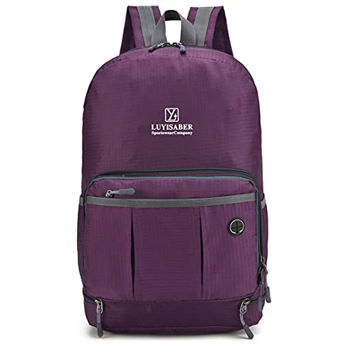 ZZTT パーソナライズされた軽量の日ハイキングバックパック防水ナイロン軽量メンズ (Color : Purple, Size : One size)