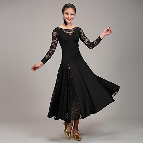 [jiroo] レディース 社交ダンス ドレス 衣装 透け レース ロング スカート 上下 1ピース 黒 M