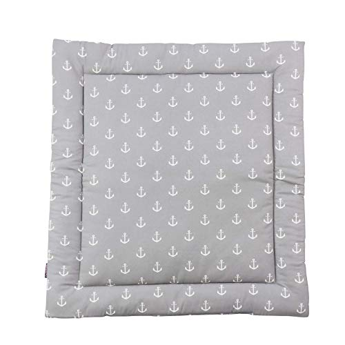 Puckdaddy Wickelauflage Greta - 65x75 cm, Wickelunterlage aus 100% Baumwolle mit Anker Muster in Grau, weiche Wickeltischauflage für Wickelkommoden, waschmaschinengeeignet