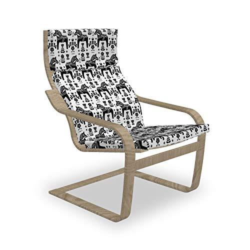 ABAKUHAUS nordisch Poäng Sessel Polster, Schwede Dala Pferde, Sitzkissen mit Stuhlkissen mit Hakenschlaufe und Reißverschluss, Schwarz und weiß