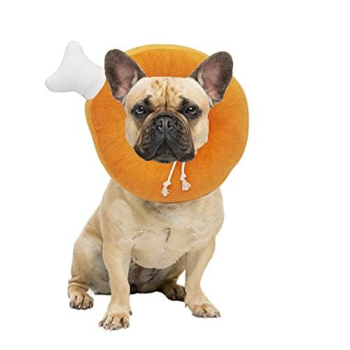 Ducomi Polly Collare Elisabettiano Morbido Regolabile per Recupero Gatto e Cane e Piccoli Animali Domestici, Collarino Protettivo Gatti Cani Alternativa al Cono Vittoriano (M, Chicken Leg)