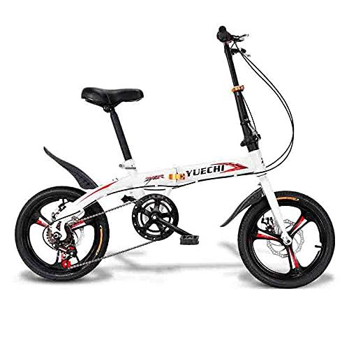 ZHCSYL Bicicletas Plegables, Bicicletas Compactas Con 6 Velocidades, Frenos De Disco Frisbee, Llantas De Acero De 16 Pulgadas De Alta Resistencia, A Prueba De Golpes, Fáciles De Plegar, Mu(Color:rojo)