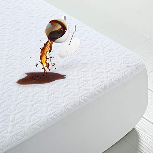 Premium Cooling Waterproof Mattress Protector Queen Size 3D Bamboo Air Fabric Ultra Soft Breathable Mattress Pad Cover...