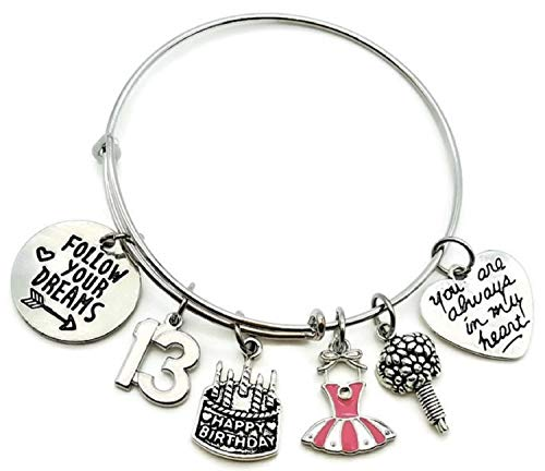 13th Birthday Bracelet, Birthday Bracelet, Birthday Gift for Girls, Birthday Bangle Bracelet, Birthday Charm, Dress Charm, Flower Charm, Birthday Jewelry, Birthday Bangle Jewelry (13th Birthday)