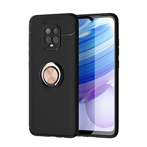 zl one Compatible con/reemplazo para la funda del teléfono Xiaomi Redmi 10X Pro 5G Metal Ring Back Cover Ultra-Thin TPU Bumper (Cubierta negra Anillo rosa)