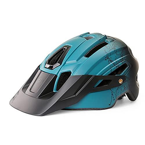 G&F Casco Bicicleta con Luz Led Visera Desmontable Carretera Montaña Ajustable Adulto Cascos Ciclismo para Hombres Mujeres (Color : Blue, Size : 58-61)
