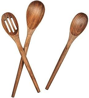 jalz jalz Natural Solid Walnut Utensil Set of 3 Spoon for Nonstick cookware Kitchen Wooden Baking Salad Making Server …