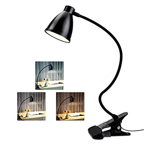 38LED Lámpara de Escritorio con Pinza, Luz de Lectura 3 Modos/10 Brillos, LED Lámpara de Pinza con 360 °Cuello Flexible, Lámpara de Mesa Protección Ocular/Carga USB para Oficina,Dormitorio,Cama-Negro