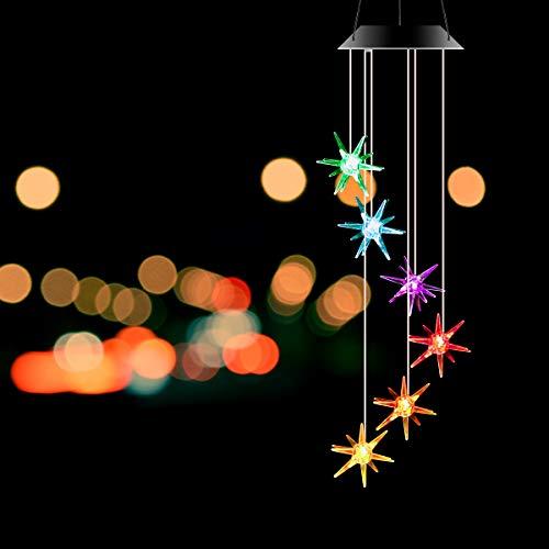 Leyeet Solarbetriebenes Windspiel in Seeseigel-Form, wasserdicht, Farbwechsel, LED-Windspiel für Zuhause, Balkon, Garten, Heimdekoration, Geschenk