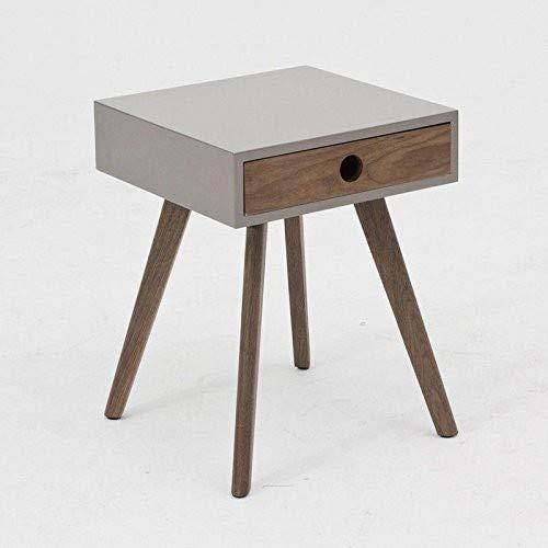 designement Tansy Table d'appoint, Noyer, Gris, 40 x 40 x 52 cm