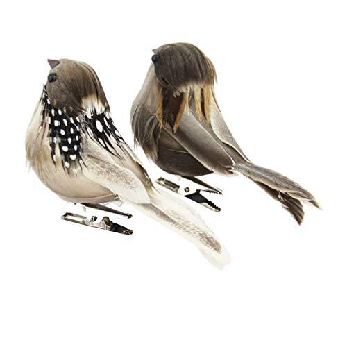 Gadpiparty 4 pájaros artificiales para árbol y pájaros, ornamentos de jardín, con clip en forma de pájaro para artesanía, exhibiciones temporales y coronas