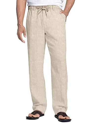COOFANDY Herren Hose Lang Leinen Casual Strandhose Groß Seitetasche Loose Fit mit Band Einfarbig Sommerhose für Männer
