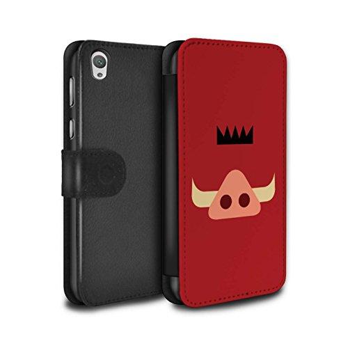 Hülle Für Sony Xperia E5 Karikatur Afrikanische Tiere Pumba Inspiriert Design PU Leder Tasche Brieftasche Schutz Handyhülle Flip Case
