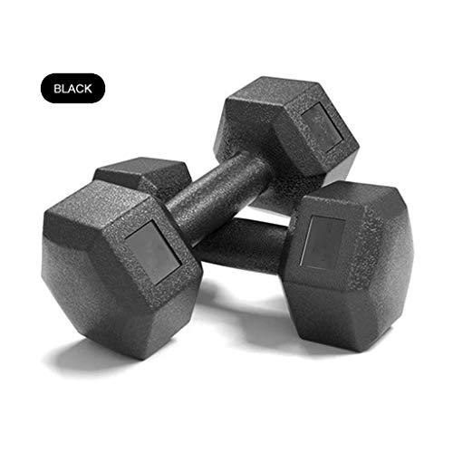 DJFT 2 PC-Hantel Männer und weibliche Anfänger Hauptgymnastik Aerobic Thin Arm Bodybuilding Pilates Übung Fitnessgeräte Sportausrüstung Gewichtheben Hanteln (Color : Black, Size : 2x3kg)