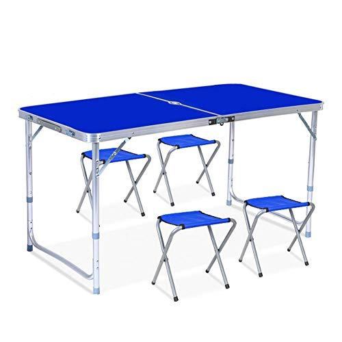 Table Pliante Réglable En Hauteur Portable 4 Chaises, Ensemble de Chaises de Table de Propagande Pour Les Stands en Plein Air, Jardin de Camping Convenable, 120 Cm / 4 Pieds, Blanc, Rouge, Perforation