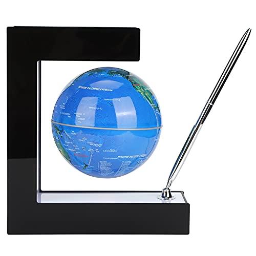 Globo Zelfdraaiende Globo 6vorm O - Magnetische Levitation - Roterende wereldkaart - met LED-lichten - voor party-cadeau & tafeldecoratie & leerinstrumenten (blauw)