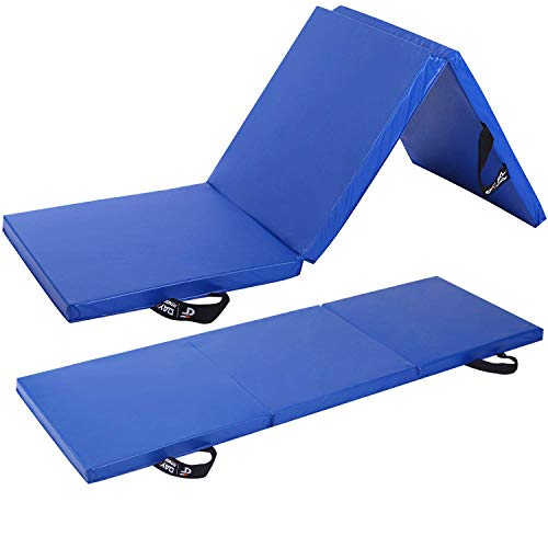 Day 1 Fitness Folding Gymnastics Gym Mat – 2'x6' Royal Blue - High-Density Foam, Exercise, Yoga, Gymnastics, Crossfit, Aerobics, Tumbling Mats - Eco-Friendly Foldable Pads