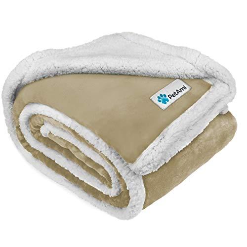 PetAmi Manta impermeable para perro para cama, sofá | Manta cálida de Sherpa para mascotas | Forro polar de microfibra súper suave | Diseño reversible para cachorro y perro grande