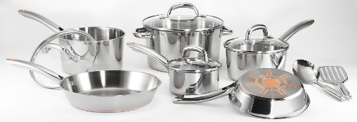 T-fal C836SC Ultimate Stainless Steel Copper Bottom Cookware Set ,...
