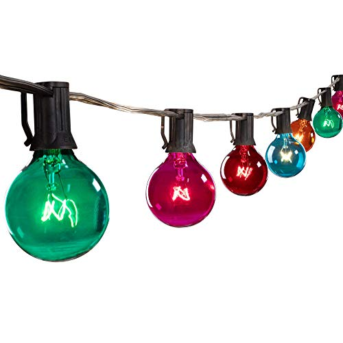25 Feet G40 Globe Patio String Lights with 25 Transparent Multicolor G40 Bulbs, UL Listed Hanging Indoor Outdoor Christmas String Lights for Backyard Bistro Market Garden Party Decor, Black Wire