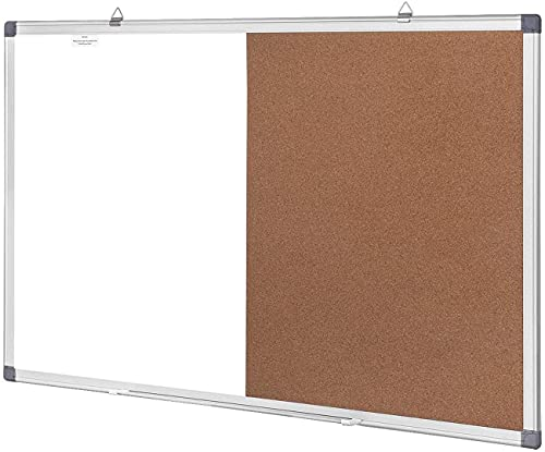 White Board & Bulletin Cork Board Combination 24 x 18 Inch Bulletin Combo Board with 3 Markers, 6 Magnets, 12 Push Pins, 1 Eraser Hanging Wall Mounted Memo Board for Home, School, Office