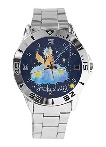 Fox Star Make A Wish Fashion - Reloj deportivo para hombre, correa de acero inoxidable, analógico, cuarzo, reloj de pulsera