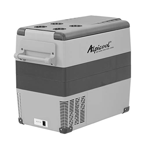 Alpicool CF55 55 Liter Kühlbox 12V tragbarer Mini-Kühlschrank elektrische Gefrierbox klein Gefrierschrank für Auto camping, Lkw, Boot und Steckdose mit USB-Anschluss, -20℃ bis 20℃