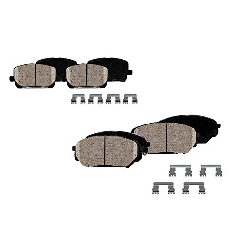 CPK11685 FRONT + REAR Performance Quiet Low Dust [8] Ceramic Brake Pads + Dual Layer Rubber Shims + Hardware [ SN95 ]