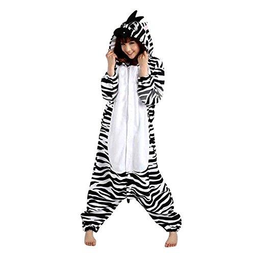 Unisex Erwachsene Kinder Pyjamas Cosplay Nachtwäsche Tier Onesie Kostüme Schlafanzug Tieroutfit tierkostüme Jumpsuit (Erwachsene M Für Hohe 156-165CM, zebra)