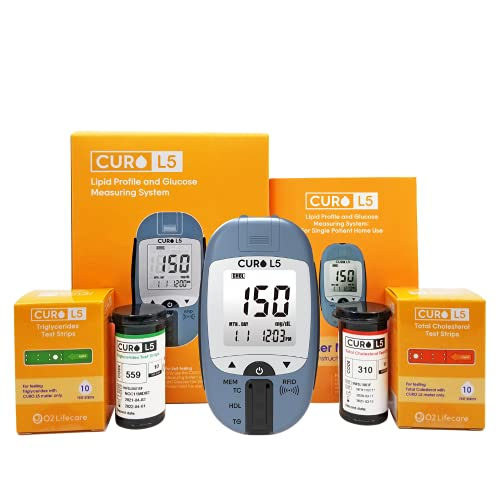 CUROfit Home Blood Cholesterol Test Kit - CURO L5 Digital Meter - (10 Total Cholesterol Strips & 10 Triglycerides Test Strips Included)