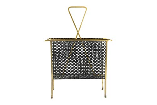 Creative Co-op Distressed Gold & Black Divided Metal Magazine Rack, Gold