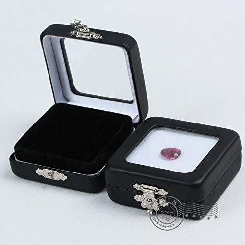 Zonfer 6 stks/groep Zwart Pu Lederen Diamond Box Display Dozen Stone Box de Omkeerbare Zwart en Wit Kussen 55 * 55 * 24 Mm Edelsteen Display Case Vierkante Diamond Sieraden Opbergdoos Organizer