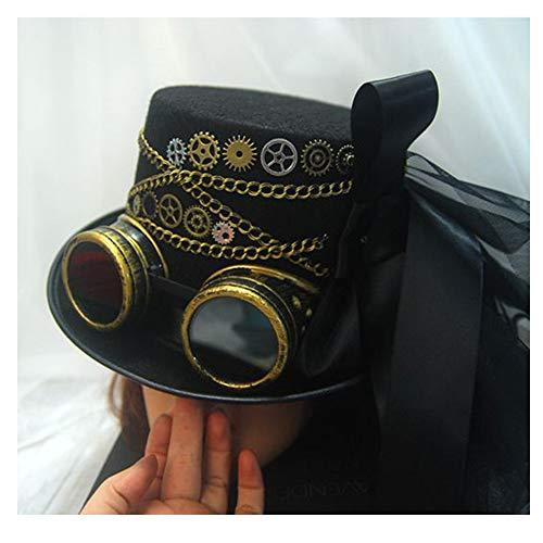RedAlphabet Steampunk Top Hat Femmes Gear Lunettes Stade Magique Chapeau À La Main Chapeau Cosplay Chapeau Taille 57CM (Color : Black, Size : 57cm)