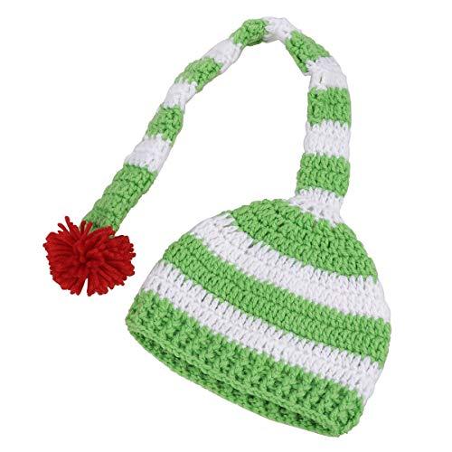 LIOOBO Bonnet en Tricot de Noël Chapeau bébé Chaud Slouchy Chapeau de Père Noël Elf Chapeau Long Tail Cap avec Fluffy Pom Pom pour Les Enfants (Vert) décor de noël