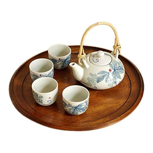 ZGQA-AOC Juego de té de tinta vidriado tetera de estilo japonés con asa y tazas de té de conjunto de servicios for 4 adultos bellamente empaquetado en caja de regalo taza y plato Sets (Color: azul, ta