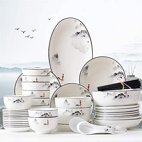 Juego de Platos, Conjunto de vajillas de cerámica con 46 Piezas, Placa/Placa/Cuchara | Conjuntos de Cena de cerámica, Conjunto de combinación de Porcelana de Pintura de Paisaje , Euro CER