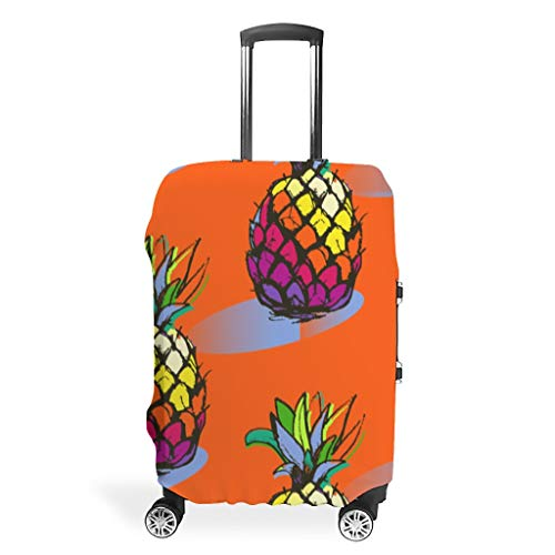 Toomjie Travel Luggage Cover Washable Spandex Baggage Suitcase Protector Anti-Thief Luggage Protector Case Pineapple Fruit Print White m (60x81cm)