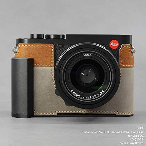 【日本正規販売店】 LIM'S Italian MINERVA BOX Genuine Leather Half Case for Leica Q2 スペシャルバージョン LC-Q2DGB Gray Brown ライカ Q2用 フランス イタリア レザー カメラケース メタルグリップ メタルプレート 高級 本革 バッテリー交換可能 おしゃれ かっこいい リムズ